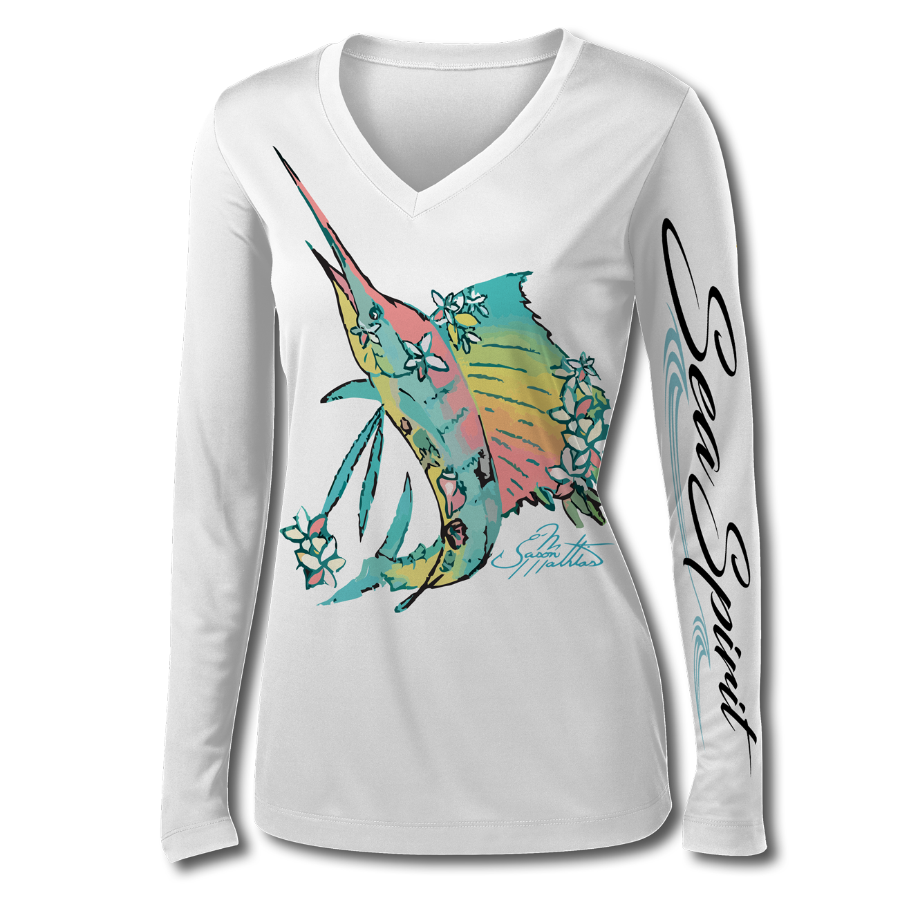jason-mathias-sea-spirit-womans-sailfish-flowers-seashells-white-front.png