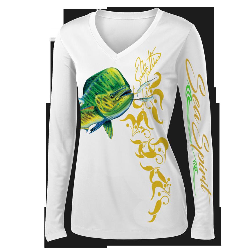 jason-mathias-sea-spirit-womens-v-neck-mahi-dorado-dolphin-shirt-white-front-shirt-copy.png
