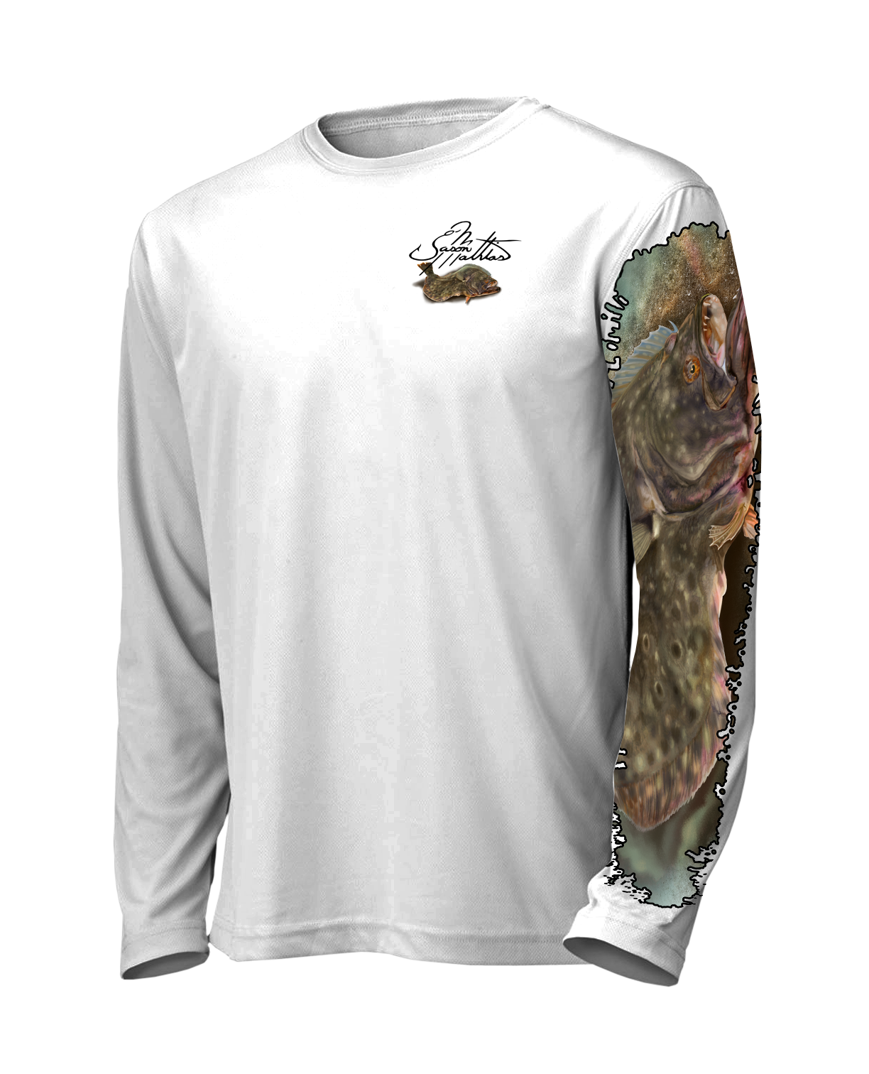 jason-mathias-shirt-line-front-white-flounder-fluke-fishing-apparel-gear-outdoor-solar-sun-high-performance-inshore-gamefish-art-sportfish-art-designs.png
